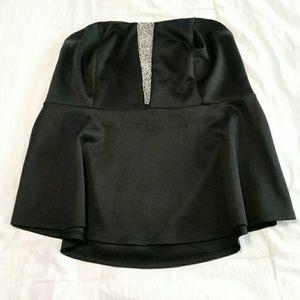 Torrid black tube top with rhinestone center